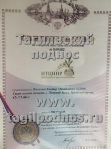 свидетельство на товарный знак - НТЦНПР ® - Нижнетагильский центр народных промыслов и ремесел ®